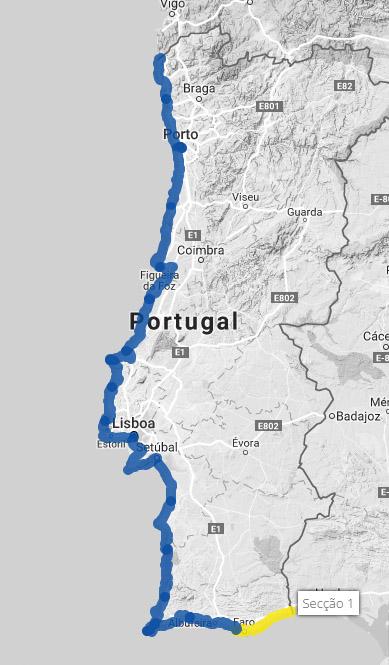Percurso da Eurovelo 1 em Portugal. Desde do Algarve até Viana do Castelo.