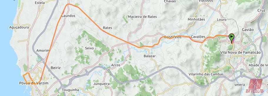 Percurso da Ecopista entre Famalicão-Póvoa de Varzim